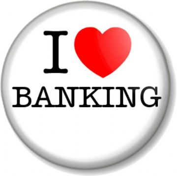 I Love / Heart BANKING Pin Button Badge Banker Job Profession Career Finance Numbers Money
